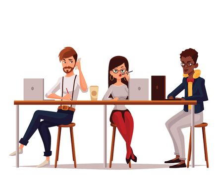 jointly: coworking, collaborative teamwork, cartoon comic illustration on a white background, isolated workers in office, Corporate Business Team Working Busy Concept, coworking center, Business meeting