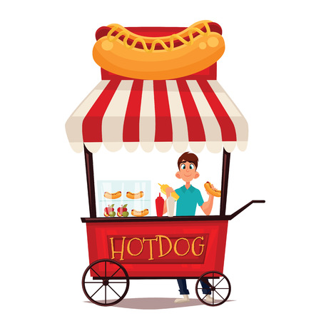street vendor: Street vendor course dogs, comic cartoon illustration on a white background, mobile store fast fudom, street hot dog cart
