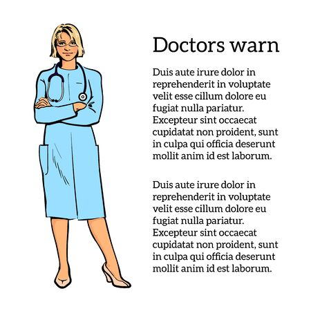cardiologist: Young girl physician. Physician Specialist. Serious doctor. Doctor warns. Doctor stands. Woman doctor -gynecologist, neurologist. Cardiologist doctor.  doctor. Sketch illustration