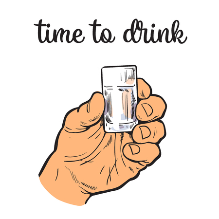 drunkard: Hand holding a full glass of vodka, vector illustration sketch art by hand, isolation on a white background male hand with a stack owith strong alcohol, the concept of time to drink alcohol