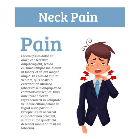 intervertebral: Pain in the neck of man, funny cartoon illustration isolated, the boy had a sore neck, spine disease, sedentary office work, office worker malaise sick tired, tension in the neck, disease