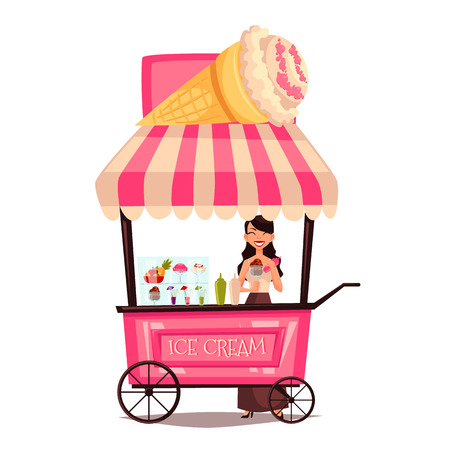 street vendor: Fast food ice cream cart, vector cartoon set isolated on a white background, street selling ice cream, comic girl street vendor ice cream