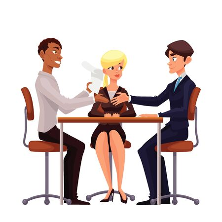 Talks at table, comic cartoon on a white background, a job interview, discuss important issues of a corporate, Young businessmen handshaking after negotiation, offering his partner Stock Photo