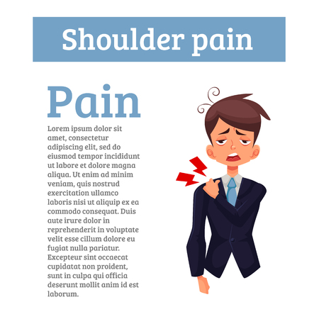 malaise: Pain in the shoulder office worker, cartoon comic illustration, isolated on a white background, a man experiencing shoulder pain, muscle tension bone joints, joint disease, spinal violation