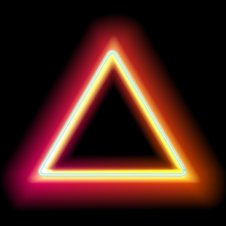neon sign: Neon triangle. Neon red light. Vector electric frame. Vintage frame. Retro neon lamp. Space for text. Glowing neon background. Abstract electric background. Neon sign triangle. Glowing electric frame