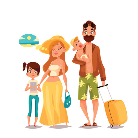 four people: Family on vacation, cartoon comic illustration of four people on a white background, traveling and vacationing family with luggage and children, four people, a man with a beard hipster