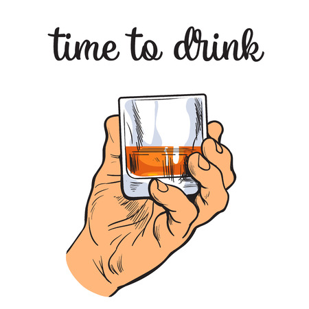 Une main tenant un verre de whisky, art vecteur illustration croquis à la main, l'isolement sur un fond blanc main masculine avec une pile owith alcool fort, le concept de temps à boire de l'alcool Vecteurs