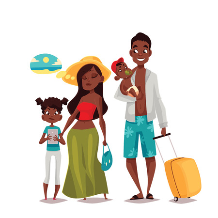 summer holidays: African Family on vacation, cartoon comic illustration of four people on a white background, traveling and vacationing African family with luggage and children, four people Stock Photo