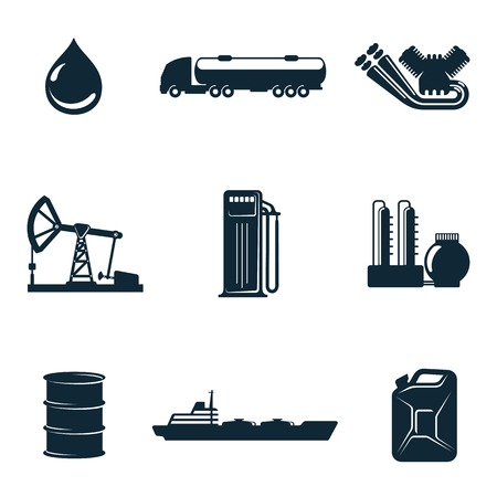 filling station: Oil icons, vector icons isolate on a white background, a set of  gasoline filling station with fuel tankers and a barrel of gasoline icons, oil station manufacturing  and marketing of oil icons