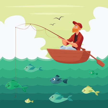 Pêcheur assis dans le bateau, illustration vectorielle multyashnaya comique, pêcheur rouge homme barbu assis avec une canne à pêche en barque sur la rivière, la chasse pour les poissons, la pêche sur l'eau
