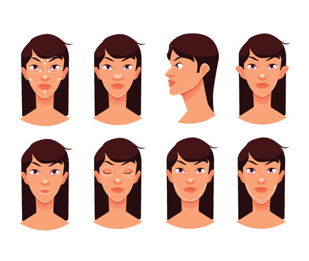 reconstructive: Plastic reconstructive surgery face, isolated vector cartoon illustration, surgical correction of the human person, podtyashka chin, nose correction eye face ear surgery
