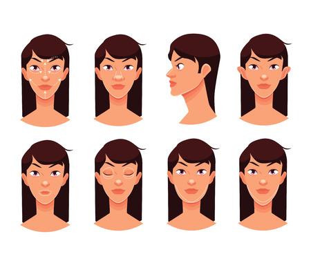 cara plástica reconstructiva cirugía, aislado ilustración de dibujos animados de vectores, corrección quirúrgica de la persona humana, la barbilla podtyashka, ojo corrección de la cirugía de la cara del oído nariz