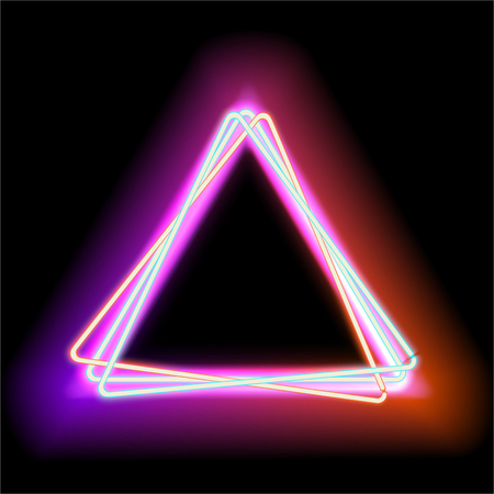 Neon triangle. Neon red light. Vector electric frame. Vintage frame. Retro neon lamp. Space for text. Glowing neon background. Abstract electric background. Glowing electric frame Иллюстрация