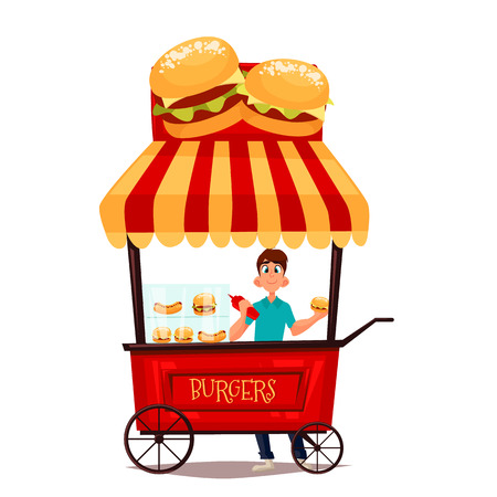 selling service: Street selling burgers, cartoon comic illustration, mobile retro shop with burgers, selling fast food on the street, comic boy street vendor hamburger