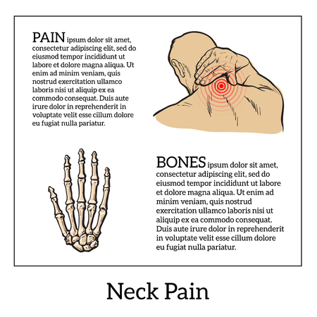 sore: Pain in the neck of a man, vector sketch illustration isolated, man holding his hand sore neck, spine disease or muscle overexertion, human neck injury,  black and white illustration Illustration