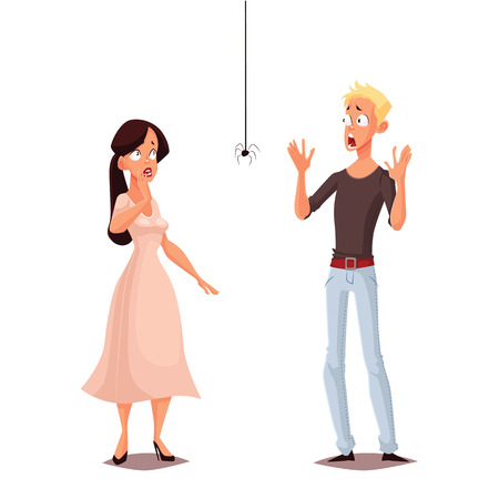madly: Madly frightened man and woman vector cartoon comic illustration isolate, boy and girl afraid of a spider, arachnophobia, people are very afraid of spider and panic, manifestation of the phobia