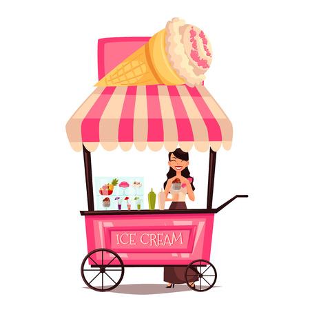 carretto gelati: Fast food gelato della spesa, insieme cartone animato isolato su uno sfondo bianco, strada che vende gelati, comico strada ragazza crema fornitore di ghiaccio Archivio Fotografico