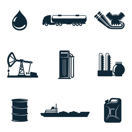 filling station: Oil icons, icons isolate on a white background, a set of gasoline filling station with fuel tankers and a barrel of gasoline icons, oil station manufacturing and marketing of oil icons