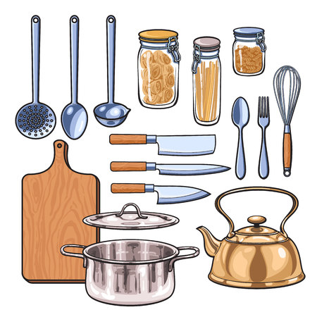 color range: Kitchenware, vector sketch drawn by hand, items in the kitchen kettle ladle knife fork dish pan rifled board of the bank with pasta, Kitchenware in a color sketch style, a wide range of subjects Illustration