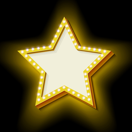 3d star: Realistic 3D star with neon lights. Lamps on a volume of vintage frame. Retro Star icon. Design element for your advertising banner. An empty black space ready for your text. illustration Stock Photo