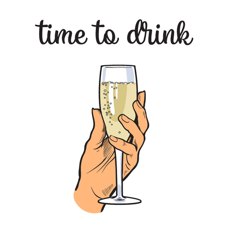 intoxicating: Hand holding a glass of champagne wine, vector illustration sketch drawn, isolated on a white background, hand derzhaschayaya drink champagne with bubbles, easy to drink champagne, time to drink