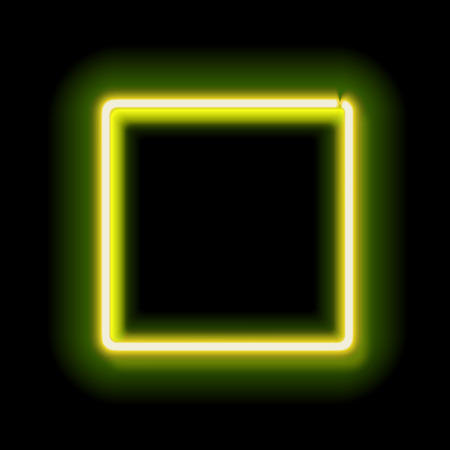 neon green: Neon square. Neon green light. Vector electric frame. Vintage frame. Retro neon lamp. Space for text. Glowing neon background. Abstract electric background. Neon sign square. Glowing electric frame Illustration