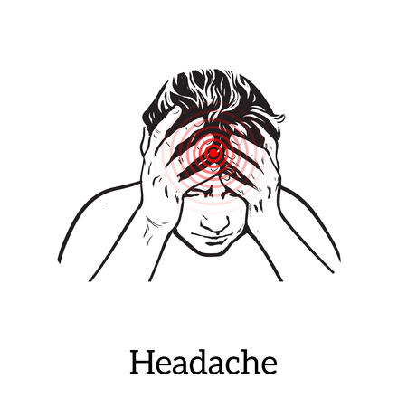woman headache: Picture a woman with a headache, illustration sketch of a woman who holds his hand to his head, pain in the head of a woman, the concept of sickness or disease in the human head