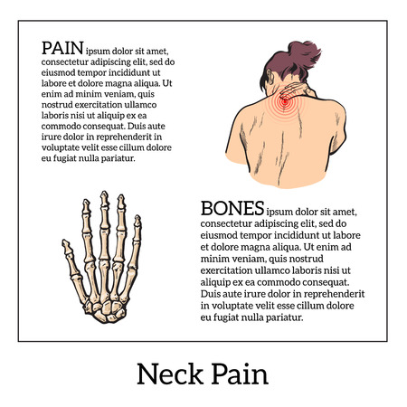 neck injury: Pain in the neck of a woman, vector sketch illustrationa isolated, woman holding his hand sore neck, spine disease or muscle overexertion, human neck injury,  black and white illustration Illustration