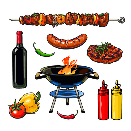 meat grill: Set barbecue, vector sketch drawn by hand, isolated on a white background, sketch kebab meat sausage steak with sauce, barbecue grill meat with vegetables and wine, fried foods on grill with peppers