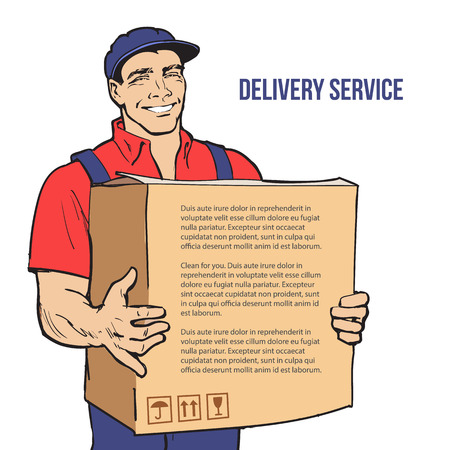 shipper: Moving Companies. Shipping. Happy loader stands with box. illustration. Move house service. Transportation of things. Delivery of goods. Box. Carrier with a box isolated. Transportation package