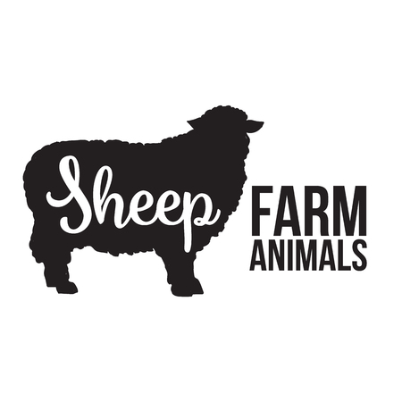 mutton: Black contour farm animal with a white lettering inscription inside, Logo sheep animal, outline for the product, illustration contour farming sheep with lettering on the mutton meat Stock Photo