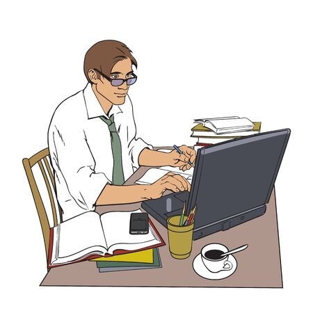 A man in a shirt sits at a table. Writer, journalist, scholar, student write his work in the computer. Work on the Internet. On the table, a lot of paperwork. The process of study. illustration