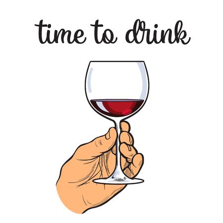 Une main tenant un verre de vin rouge, vecteur croquis dessiné à la main, isolé sur fond blanc illustration, la main croquis tenant un verre de vin rouge, tandis que la consommation d'alcool, le vin rouge dans un verre Vecteurs