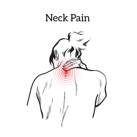 neck pain: Pain in the neck of a woman, sketch illustrationa isolated, woman holding his hand sore neck, spine disease or muscle overexertion, human neck injury, black and white illustration