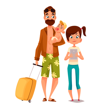 Cartoon father and his children, vector illustration comic isolated on white background father and daughter walk together in summer, daughter is writing in phone, father in shorts and a beard