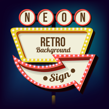 Retro Night Sign With An Arrow Vintage 3D Volumetric Banner Outdoor Advertising Realistic