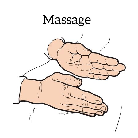 masseur: Hands doing massage icon sketch illustration on a white background, concept of health relaxation massage icon, massage your hands for medical purposes icon