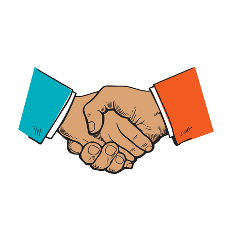 Handshake Of Two Men Sketch Illustration Drawn By Hand In A
