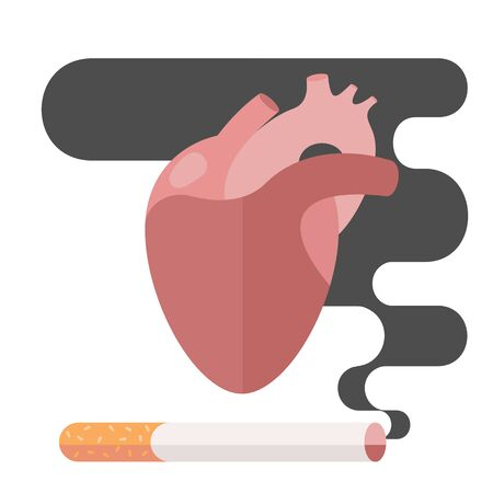 nicotine: Icons about smoking, illustration flat, the dangers of smoking, health problems due to smoking, human heart, nicotine dangerous, danger to life and limb due to nicotine
