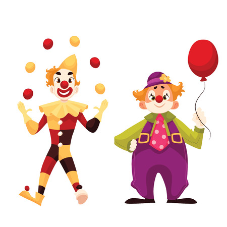 red nose: Two cheerful clown on a holiday, vector cartoon comic illustration isolated on a white background, funny cartoon clown shows tricks, funny comic clown holding balloon, funny faces and cheerful mood