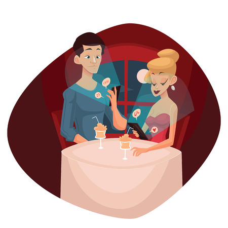 couple date: date loving couple and mobile phone, vector cartoon comic illustration, concept meeting couples in love and modern technology, evening the men and women who keep the phones do not notice each other Illustration