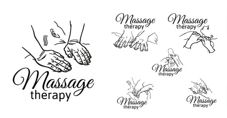 physiotherapist: Varieties of massage hands, logos set of types of massages sketch, black and white outline illustration of relaxation therapy, body kneading, face, back, legs, arms.