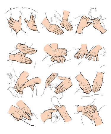 건강 이완의 개념 흰색 배경에 마사지 아이콘 스케치 그림을 수행하는 손 마사지 아이콘, 의료 목적을 위해 손을 마사지 아이콘