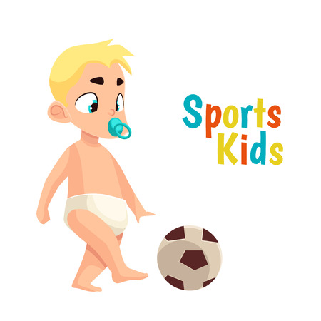 cartoon ball: Baby in diaper playing football, vector cartoon comic illustration isolated on white background baby with a pacifier kicks a soccer ball, the baby in podguznie playing sports
