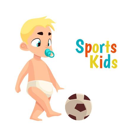 pelota caricatura: Bebé en el fútbol de juego pañal, dibujos animados ilustración vectorial cómico aislado en el fondo blanco bebé con un chupete golpea un balón de fútbol, ??el bebé en la práctica de deportes podguznie Vectores