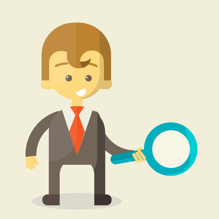 finding your way: Businessman with a magnifying glass looking for the answer to your question . Finding the right way in the business. cheerful business illustration Stock Photo