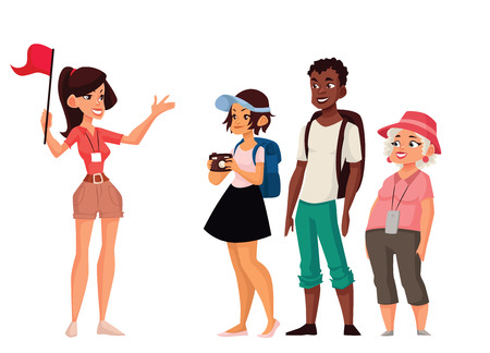 Tour vacation with guide, vector cartoon comic illustration isolated on a white background, a group of tourists listening to the history of the city, exploring attractions in the journey, guide tells Ilustrace