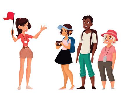 vacaciones Tour con guía, ilustración vectorial cómico aislado en un fondo blanco, un grupo de turistas que escuchan la historia de la ciudad, la exploración de las atracciones en el viaje, guía dice