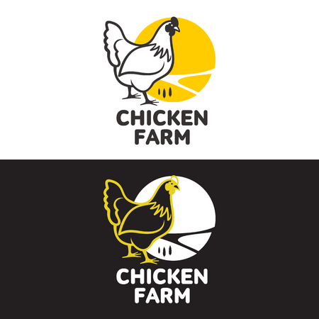 black and white farm: with chicken, vector illustration, isolated on a white background