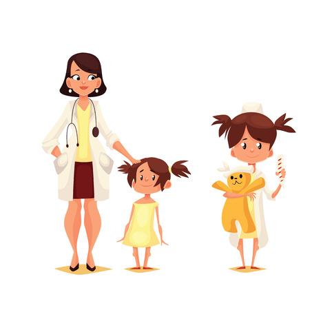 médecin Pédiatre avec son patient, dessin animé comique illustration isolé sur fond blanc, le Dr pediator avec un petit enfant, un enfant joue dans le médecin tenant un jouet